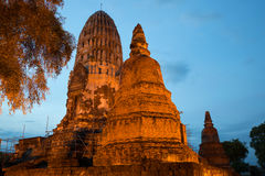 Main prang of the ancient Buddhist temple of Wat Ratcha Burana in the evening twilight. Ayutthaya, Thailand. Main prang of the ancient Buddhist temple of Wat Royalty Free Stock Image