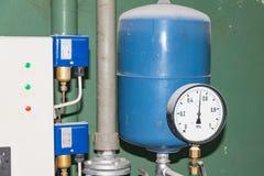 Main pumping station, hot water, air pressure sensor stock image