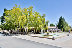 Main Quad of De Anza College, Cupertino. View of the Main Quad of De Anza College with fountain and Hinson Campus Center Royalty Free Stock Image