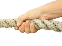 Main qui tire une corde Images libres de droits