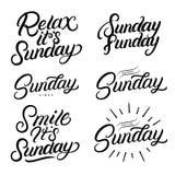 Main réglée de dimanche écrite des citations de lettrage illustration de vecteur