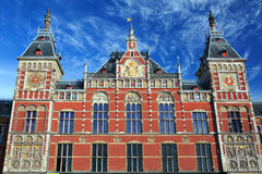 Main railway station in Amsterdam, Netherlands. Main railway station in Amsterdam, designed by Dutch architect Pierre Cuypers and first opened in 1889 Stock Photos