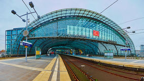 The main railway station in Berlin. Berlin, Germany - November 16, 2015: The main railway station in berlin at day stock image