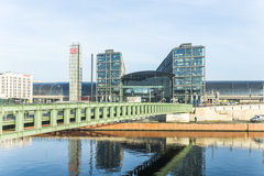 The main railway station of Berlin with river spree Royalty Free Stock Photography