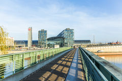 The main railway station of Berlin with river spree Stock Photos