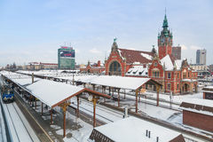 Main railway station in the city center of Gdansk Stock Photos