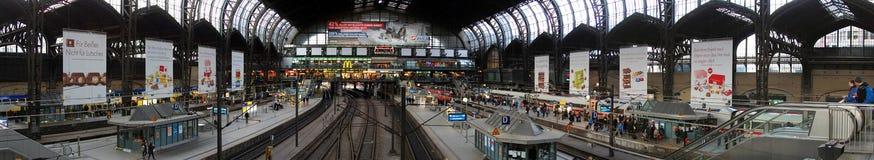 Main railway station of Hamburg. Panoramic view on the main railway station of Hamburg Stock Images