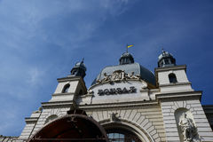 The main railway station in Lviv, Ukraine. Building of railway station in Lviv Stock Photography