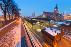 Main railway station at night in Gdansk Royalty Free Stock Image