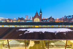 Main railway station at night in Gdansk Stock Photos