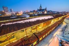 Main railway station at night in Gdansk Royalty Free Stock Photos