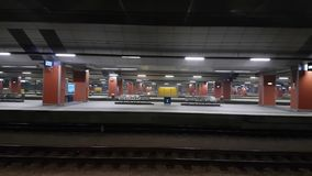Main railway station pan left to right interior stock video footage