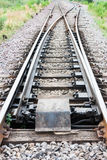 Main railway track separated to two railway tracks Stock Image