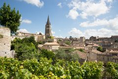 View of Saint Emilion village in Bordeaux region in France. Main red wine production areas of Bordeaux region Saint Emilion village stock images