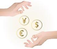 Main retenant l'argent Photographie stock