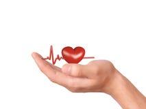 Main retenant le coeur rouge Concept de soins de santé et de médecine Photographie stock libre de droits
