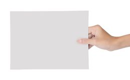 Main retenant le papier blanc 6 Image stock