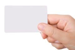 Main retenant une carte de visite professionnelle de visite Images stock