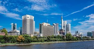 Main River Bank in urban Frankfurt Area summer Royalty Free Stock Photos