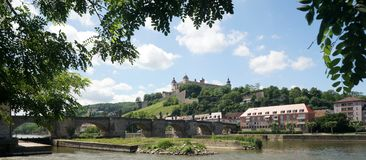 Wuerzburg on the Main River. The Main River in the Bavarian city of Wuerzburg, Germany, just below the castle Stock Photos