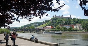 Wuerzburg on the Main River. The Main River and castle in the Bavarian city of Wuerzburg, Germany Royalty Free Stock Image