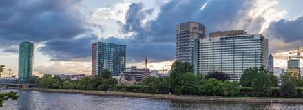 Main River and Frankfurt Buildings in Summer Stock Photography