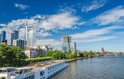 Main River and Frankfurt Skyline in Summer. Main River and Frankfurt Germany Skyline in Summer Stock Photo