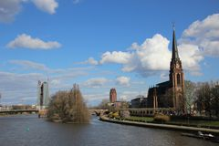 Main River, Germany. Looking down the Main River in Frankfurt, Germany Stock Photography