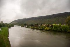 Main river at Klingenberg. Main river in Klingenberg, Germany, Deutschland, April 2017, Spring Royalty Free Stock Photos
