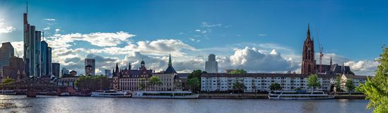 Main Riverbank and Frankfurt City Skyline in Summer Stock Images