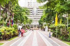 Main road leading to Prince Mahidol Memorial statue square at the center of Siriraj hospital in Bangkok Royalty Free Stock Photo