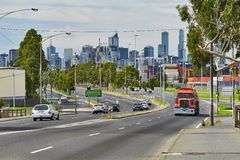 Main road in Melbourne royalty free stock photo