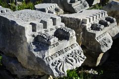 The main road in old city Perga, Turkey. Perga or Perge (Greek: Πέργη Perge, Turkish: Perge) was an ancient Greek city in Anatolia, once the capital of Royalty Free Stock Images