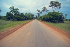 Main Road Path From Angkor`s Temple.Cambodia Stock Images