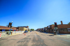 Main road in regular town of central states, Iowa. Stock Photos