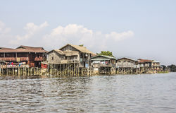 Main road of a stilt village Royalty Free Stock Images