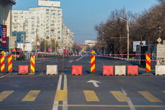 Main Road under construction. Dead end road. Repairs in progress Royalty Free Stock Photo