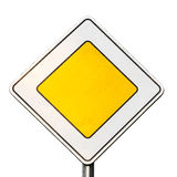 Main road yellow roadsign isolated on white stock photos