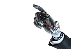 Main robotique dans le costume se dirigeant avec l'index Photos stock