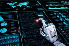 Main robotique fonctionnant avec l'affichage de hud Photographie stock