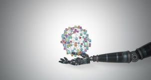 Main robotique présentant les icônes digitalement produites illustration libre de droits