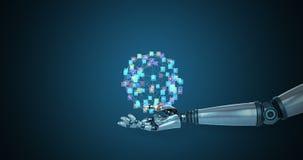 Main robotique présentant les icônes digitalement produites illustration stock