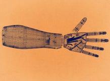 Main robotique - rétro architecte Blueprint photos libres de droits