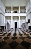 Main room with checkered floor at Russborough Stately House, Ireland. Palladian architecture inside Russborough Stately House, county Wicklow, Ireland stock image