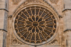 Main rose window of Leon gothic cathedral in Spain. View of the entrance rose window with its stained glasses in the gothic cathedral of Leon, Spain Stock Photography