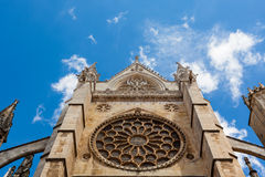 Main rose window view in the gothic cathedral of Leon, Spain Royalty Free Stock Image