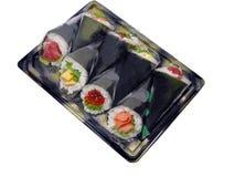 Main-roulez la boîte à sushi images stock