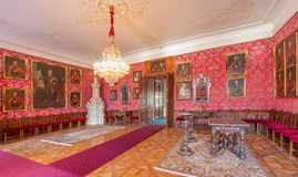 Main saloon with the portraits of glorious officers from war with the Turks by Carl Emrich (1727 - 1731) in palace Saint Anton. SAINT ANTON, SLOVAKIA - FEBRUARY Stock Image