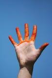 Main sanglante rouge Images libres de droits