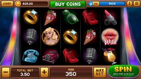 Main screen for pin-up slots game. With retro symbols. Vector illustration vector illustration